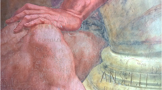 Mantova affreschi Palazzo Giulio Romano Lescargot Ivana Porcini turisti